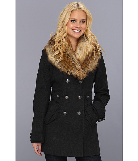 Jachete Betsey Johnson - Double Breasted Coat with Faux Fur Trim - Charcoal