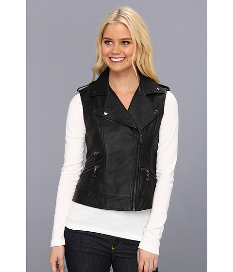 Geci dollhouse - PU Vest with Side Zips - Black