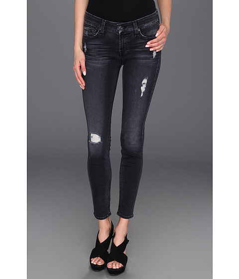 Blugi 7 For All Mankind - The Skinny in Slim Illusion Blue Black Destroyed - Slim Illusion Blue Black Destroyed