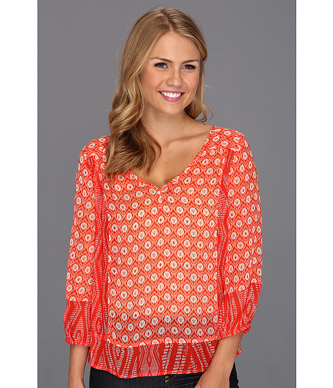 Bluze Lucky Brand - Caley Mixed Print Top - Fiery Red Multi
