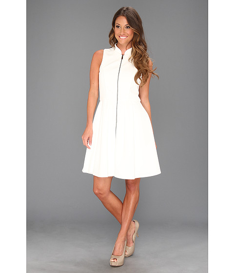 Rochii Vince Camuto - Fit & Flare Scuba Dress W/ Exposed CF Zip - White