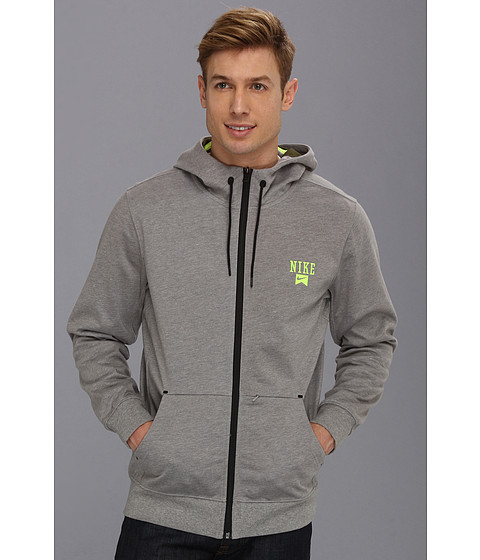 Bluze Nike - Northrup 3-Ply Full-Zip Hoodie - Dark Grey Heather/Legion Green/Volt/Volt