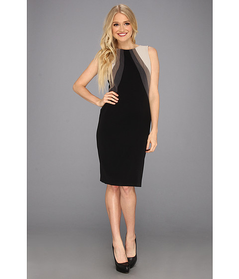 Rochii elegante: Rochie Nine West - Sleeveless Multi Seam Sheath Dress - Solid Black