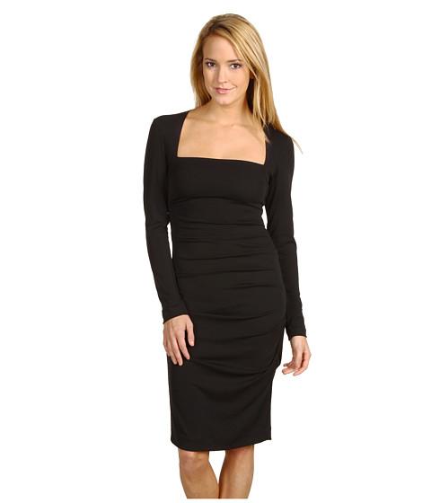 Rochii elegante: Rochie Nicole Miller - L/S Stretchy Matte Tuck Dress - Black