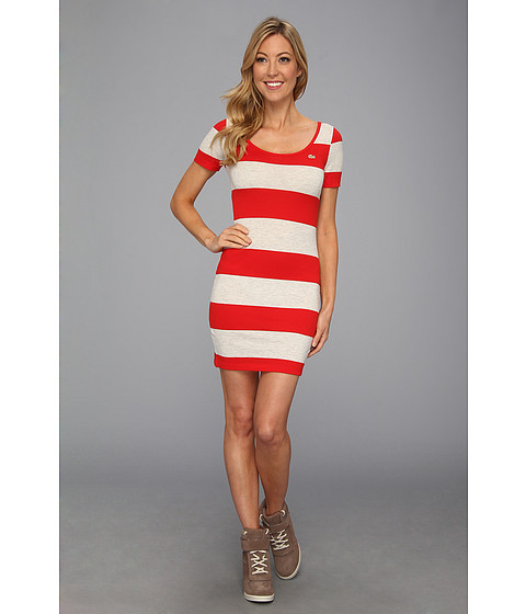 Rochii elegante: Rochie Lacoste - L!VE S/S Rugby Stripe Dress - Cochineal Red/Pigeon Grey