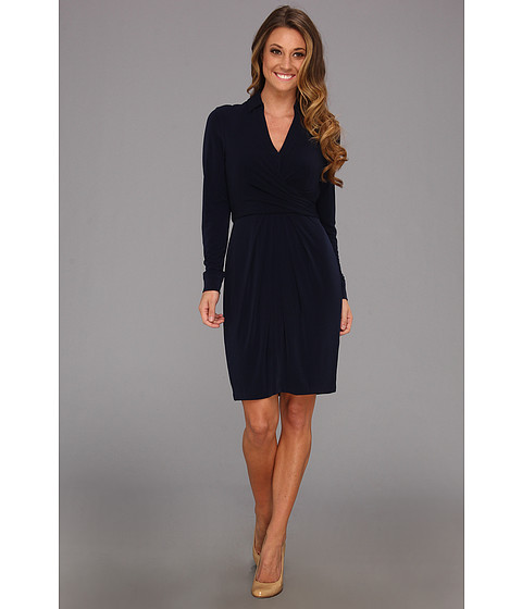 Rochii elegante: Rochie Vince Camuto - Collared Faux Wrap Dress W/ Waist Tie - Navy