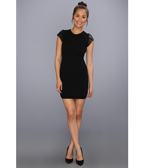 Rochii elegante: Rochie Susana Monaco - Leather Trimmed Sweater Dress - Black