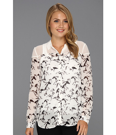 Bluze French Connection - Hatched Horses Print Top - White/White Print