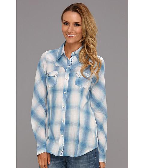 Camasi Roper - 8628 Ombre Plaid Shirt - Blue