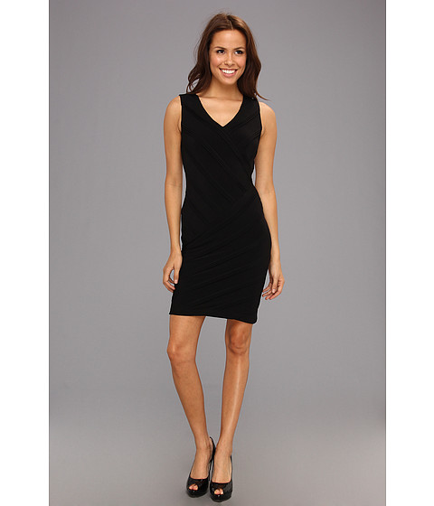 Rochii Calvin Klein - Textured Stripe Sheath Dress - Black
