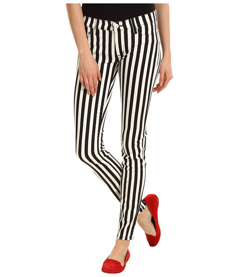 Blugi Hudson - Krista Super Skinny in Black White Ladder Stripe - Black White Ladder Stripe