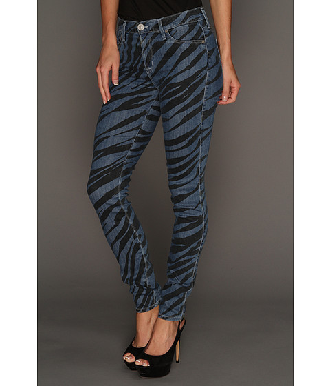 Blugi Hudson - Nico Mid Rise Super Skinny in Black Blue Zebra - Black Blue Zebra