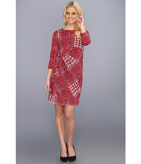 Rochii Donna Morgan - Three Quarter Sleeve Side Tie Dress - Cabernet Multi (Red)