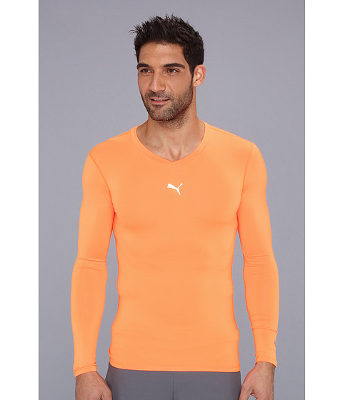Bluze PUMA - Performance Bodywear Lite L/S V-Neck Tee - Fluo Orange