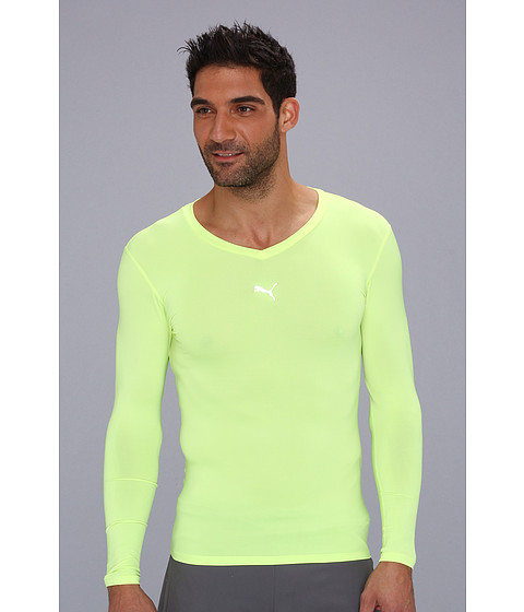 Bluze PUMA - Performance Bodywear Lite L/S V-Neck Tee - Fluo Yellow