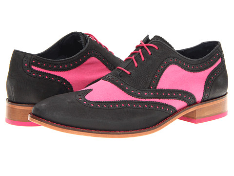 Pantofi Cole Haan - Air Colton Casual Wing Tip - Black/Fuchsia Canvas