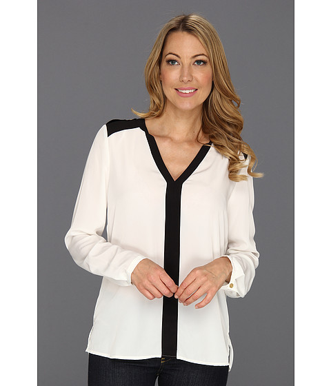 Bluze Vince Camuto - Epaulette Colorblock Blouse - New Ivory