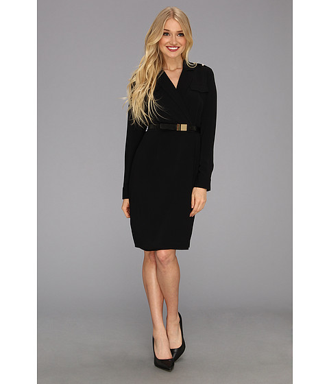 Rochii elegante: Rochie Calvin Klein - L/S Belted Shirt Dress - Black