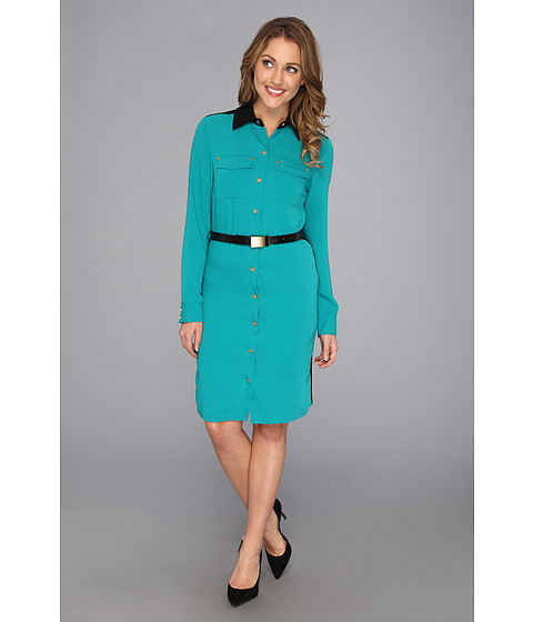 Rochii elegante: Rochie Calvin Klein - L/S Color Blocked Shirtdress - Evergreen/Black