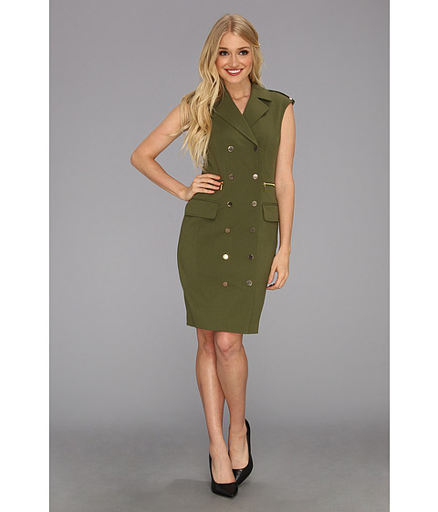 Rochii elegante: Rochie Calvin Klein - Lux Cap Sleeve Button Down Shirt Dress - Army
