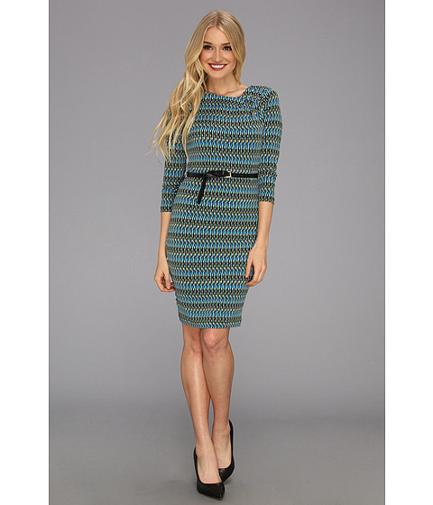 Rochii elegante: Rochie Calvin Klein - MJ L/S Printed Dress w/Belt - Multi