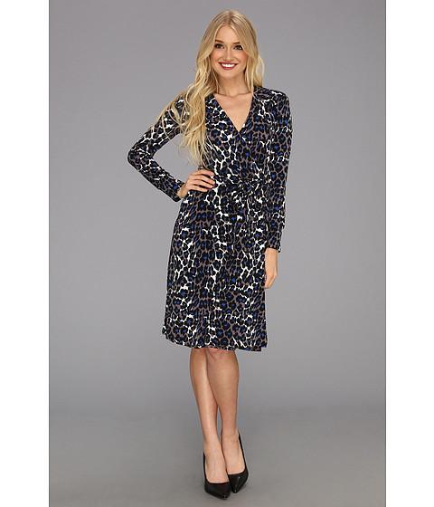 Rochii Donna Morgan - L/S Cheetah Print Wrap Dress - Black/White/Blue
