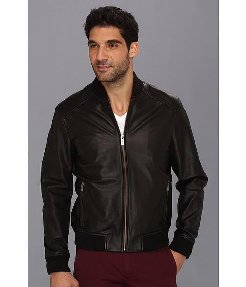 Jachete Cole Haan - Spanish Grainy Leather Varsity Jacket - Black