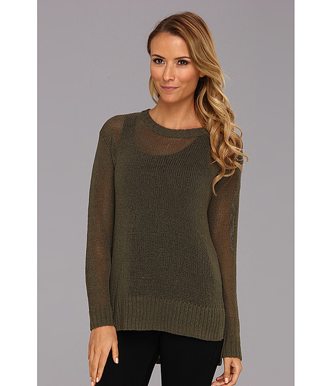 Pulovere Vince Camuto - Open Stitch Long Sleeve Sweater - Dark Leaf