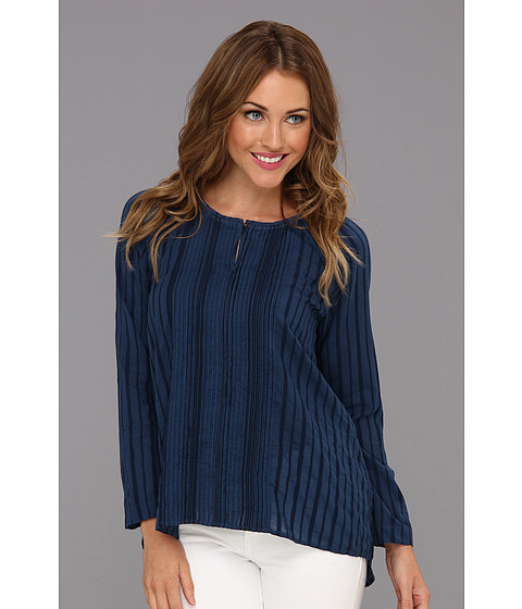 Tricouri Calvin Klein - Three-Quarter Sleeve Keyhole Top w/ Pintucks - Biro Blue