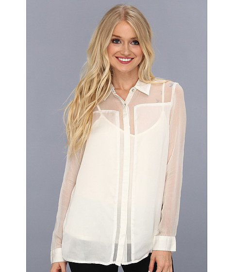 Bluze DKNY - Mixed Media Button Down Top - Pearl