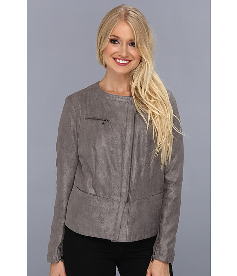 Sacouri DKNY - Faux Suede And Foil Drapey Jacket - Grey
