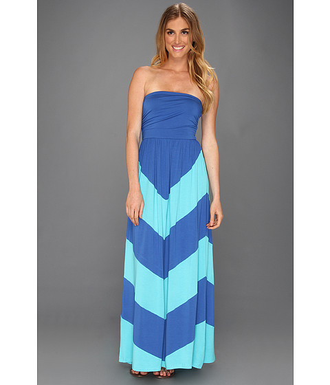 Rochii elegante: Rochie Gabriella Rocha - Blissful Chevron Maxi - Royal/Light Blue
