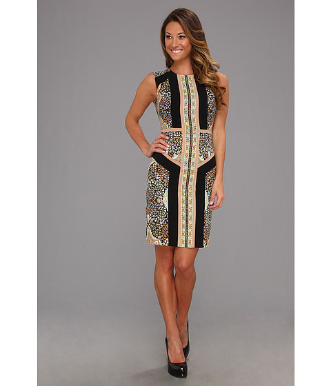 Rochii BCBGMAXAZRIA - Lauren Blocked Scarf Print Sleeveless Dress - Slate Combo
