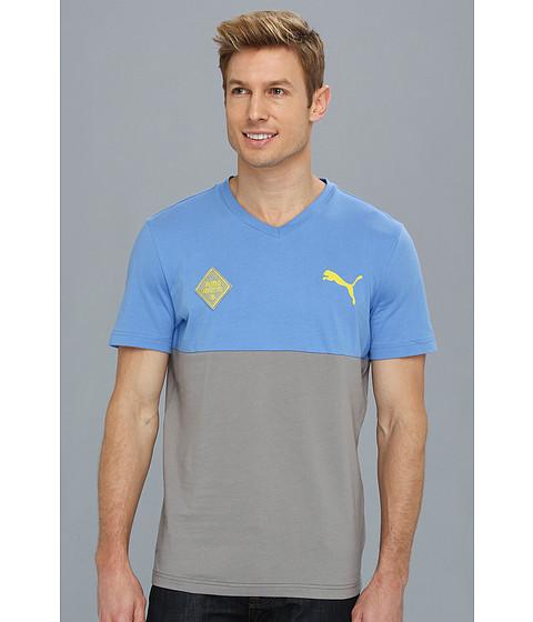Tricouri PUMA - V-Neck Tee - Palace Blue/Steel Grey