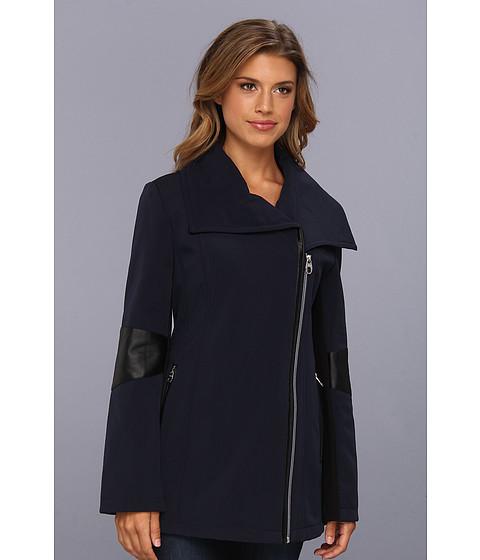 Jachete Calvin Klein - Asymmetrical Wing Collar Pant Coat w/ PU Arm Detail - Navy