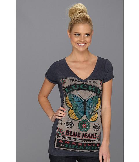 Bluze Lucky Brand - Roll Sleeve V-Neck Tee - American Navy