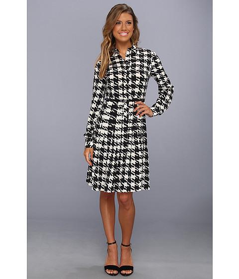 Rochii elegante: Rochie Calvin Klein - Houndstooth Printed Shirt Dress - Black/Eggshell