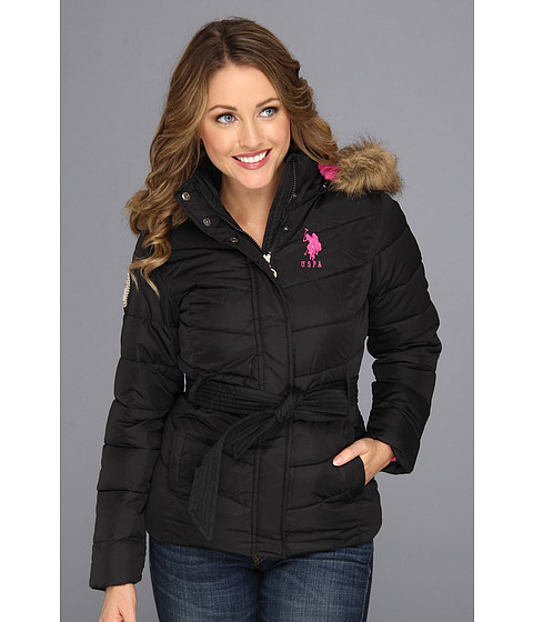 Jachete U.S. Polo Assn - Belted Puffer with Faux Fur Hood - Black