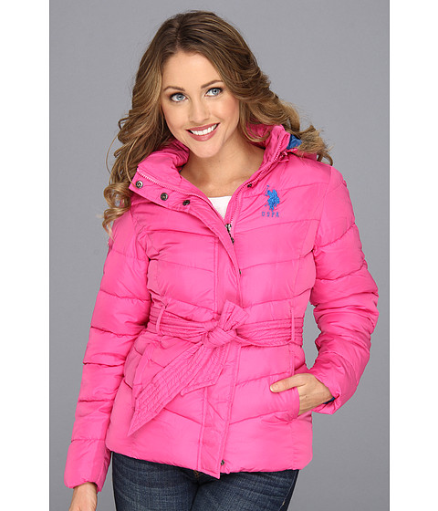 Jachete U.S. Polo Assn - Belted Puffer with Faux Fur Hood - Totally Pink