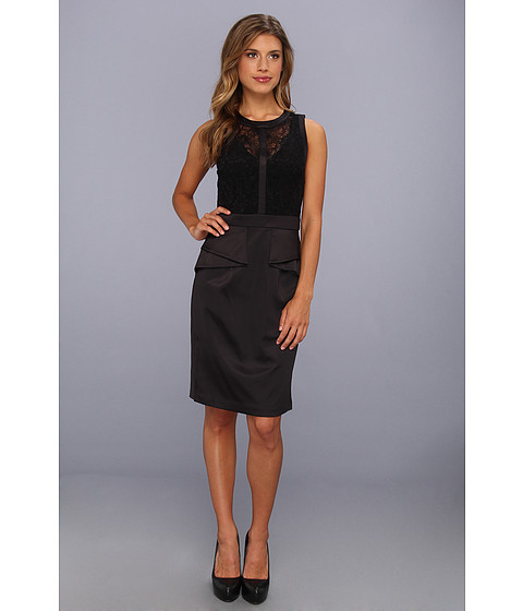 Rochii elegante: Rochie Vince Camuto - Sleeveless Dress w/ Folded Peplum And Lace Detail - Black