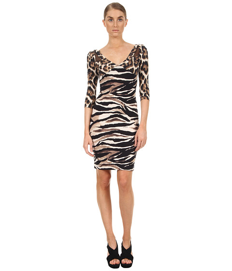 Rochii elegante: Rochie Just Cavalli - Leo/Zebra Mixed Jersey Dress - Natural