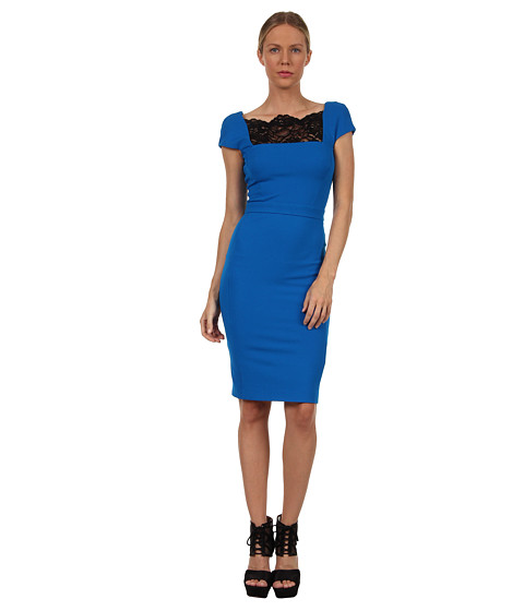 Rochii elegante: Rochie Just Cavalli - S04CT0158N20286 Ponte Cap Sleeve Dress w/ Lace Panel - Royal