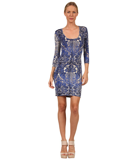 Rochii elegante: Rochie Just Cavalli - S04CT0172N20539 Sacred Ornament Print Jersey Dress - Blue