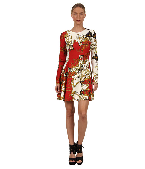 Rochii elegante: Rochie Just Cavalli - S04CT0173N26263 Paisley Crown Fit And Flair Dress - Red