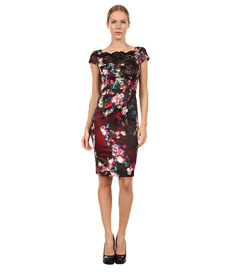 Rochii elegante: Rochie Just Cavalli - S04CT0194N36341 Floral Print Satin Dress w/ Lace - Black