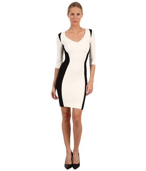 Rochii elegante: Rochie Just Cavalli - S04CT0196N20286 Ponte Color Block Dress - Ivory