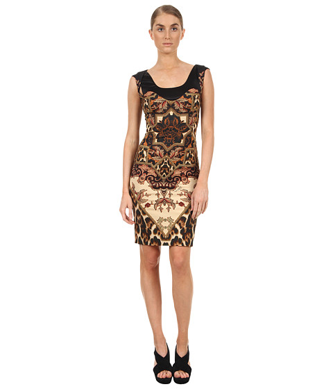 Rochii elegante: Rochie Just Cavalli - Tapestry Print Dress with Twist Cap Sleeve - Natural