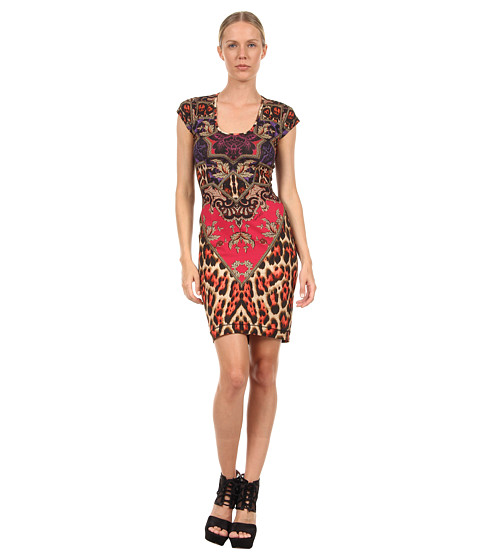 Rochii Just Cavalli - Tapestry Print Jersey Cap Sleeve Dress - 308S