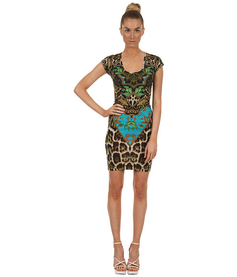 Rochii elegante: Rochie Just Cavalli - Tapestry Print Jersey Cap Sleeve Dress - Green