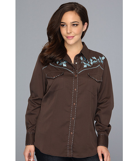 Bluze Roper - Plus Size Solid Twill w/ Leaf Design - Brown
